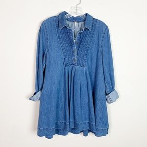 Free People | NWT denim tunic top smocked top S